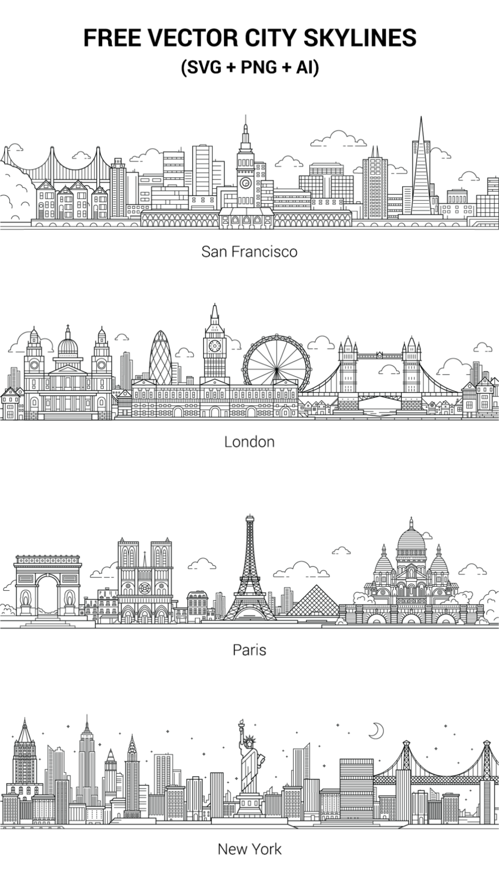 Free Vector City Skylines Skyline Drawing City Drawing Skyline