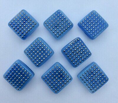 8 X 19mm Vintage Blue Square 1950s Moonglow Glass Buttons With Raised Silver Dots Glass Buttons Blue Square Moon Glow