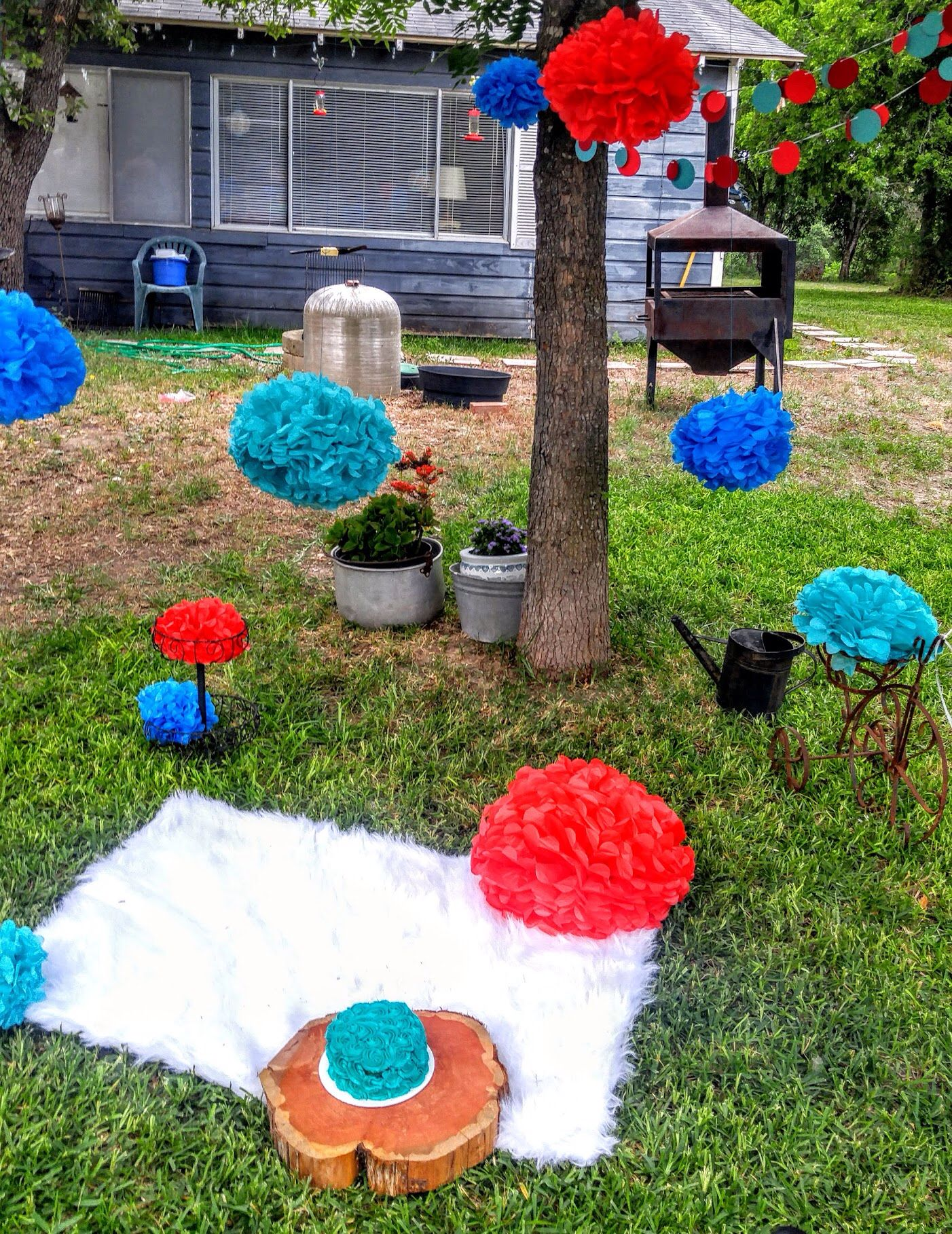 Outdoor cake smash set up for first birthday