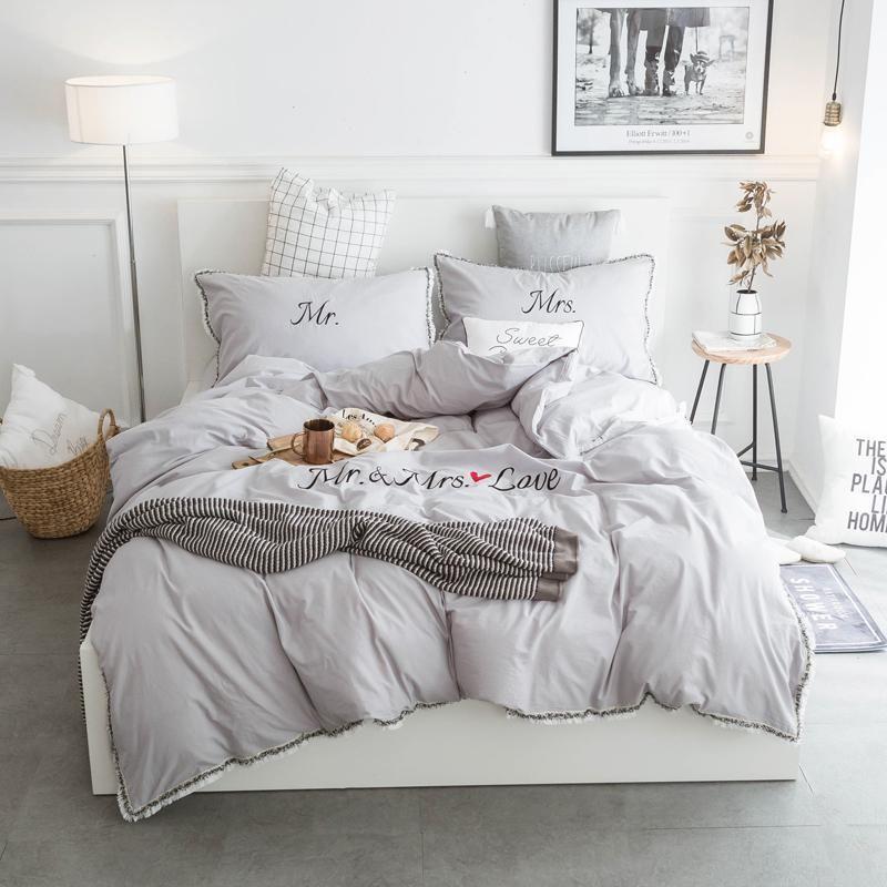 100 Cotton Mr Mrs Grey Couples Bedding Set Cotton Bedding Sets Couples Bedding Set Beautiful Bedding Sets