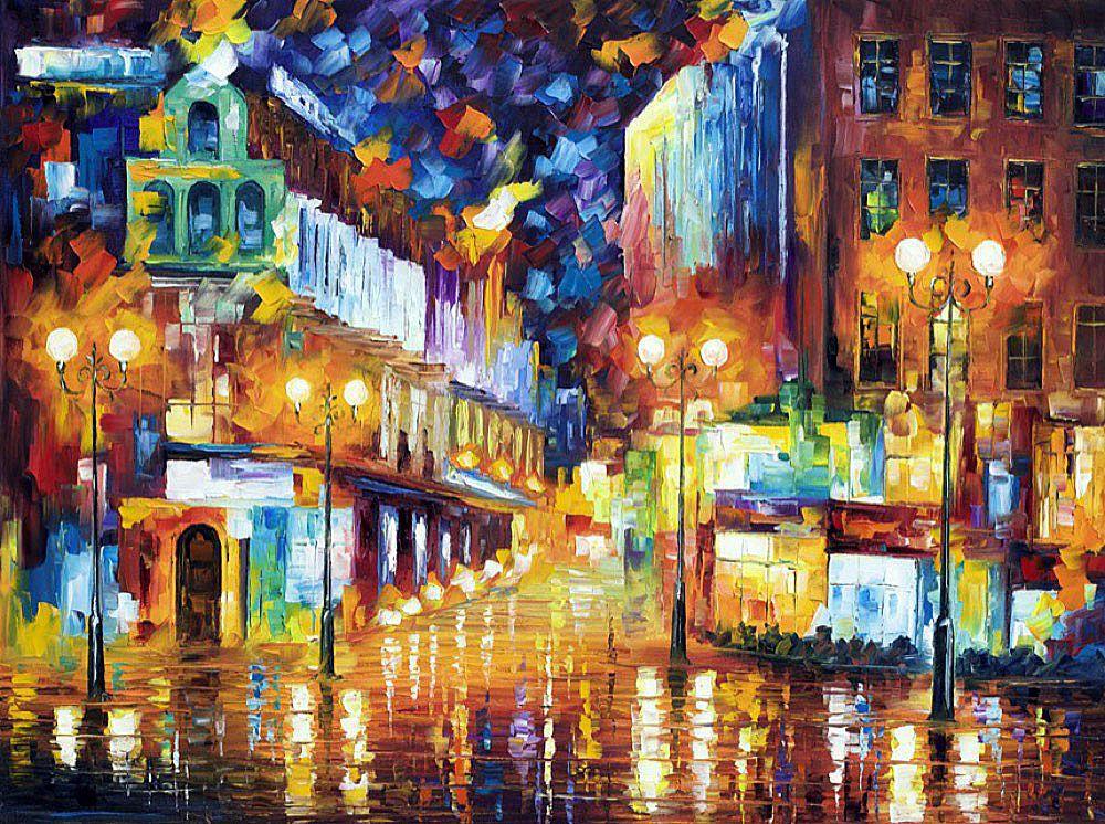 Night Copenhagen 2 - PALETTE KNIFE Oil Painting On Canvas