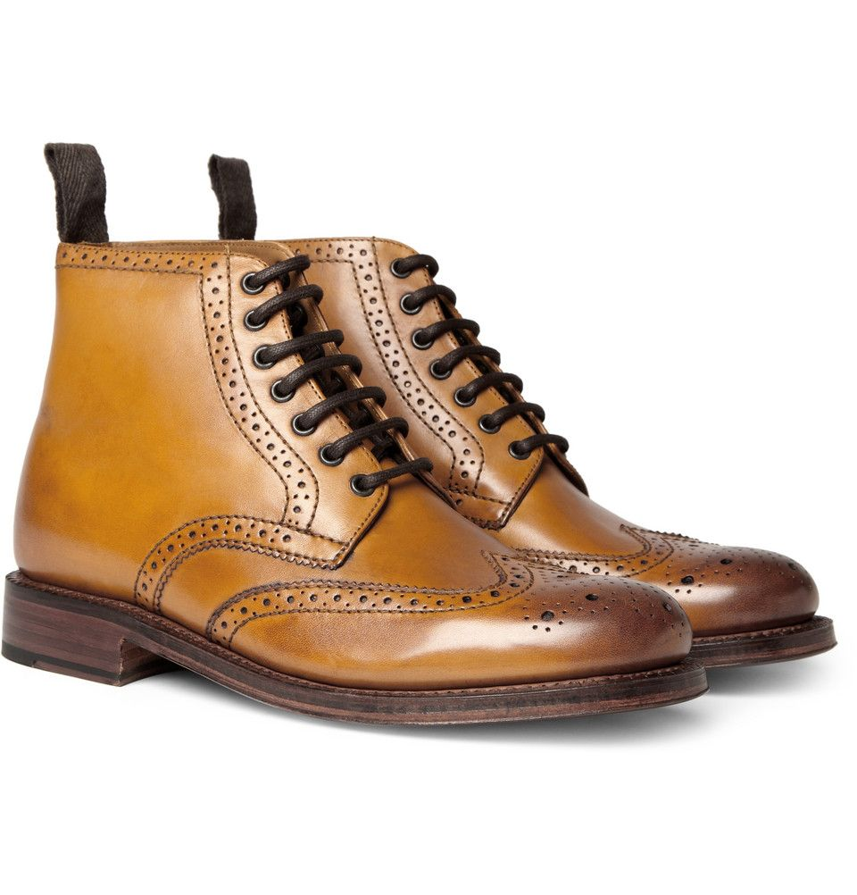 Sharp Leather Brogue Boots | Mens