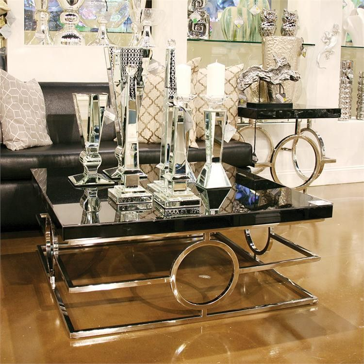 Stainless Steel Coffee Table With Black Mirror Top Howard