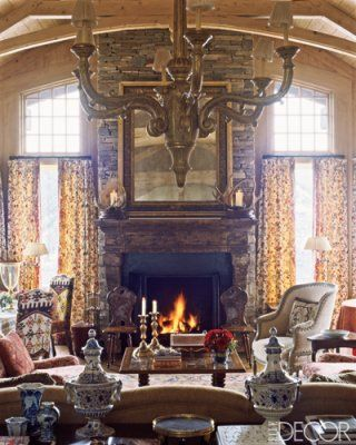 Fireplace Surrounds Mantle Elle Decor Living Rooms Chic Room