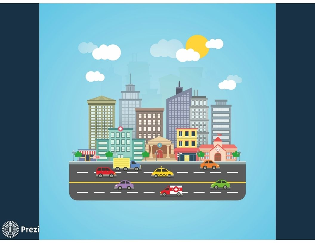 animated free prezi template where we can see a city with several, Powerpoint templates