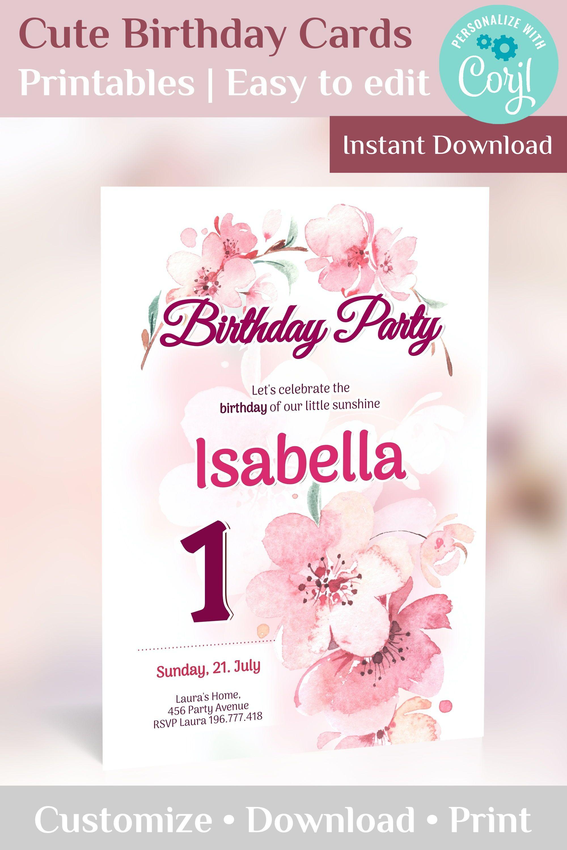 sakura birthday invitation download