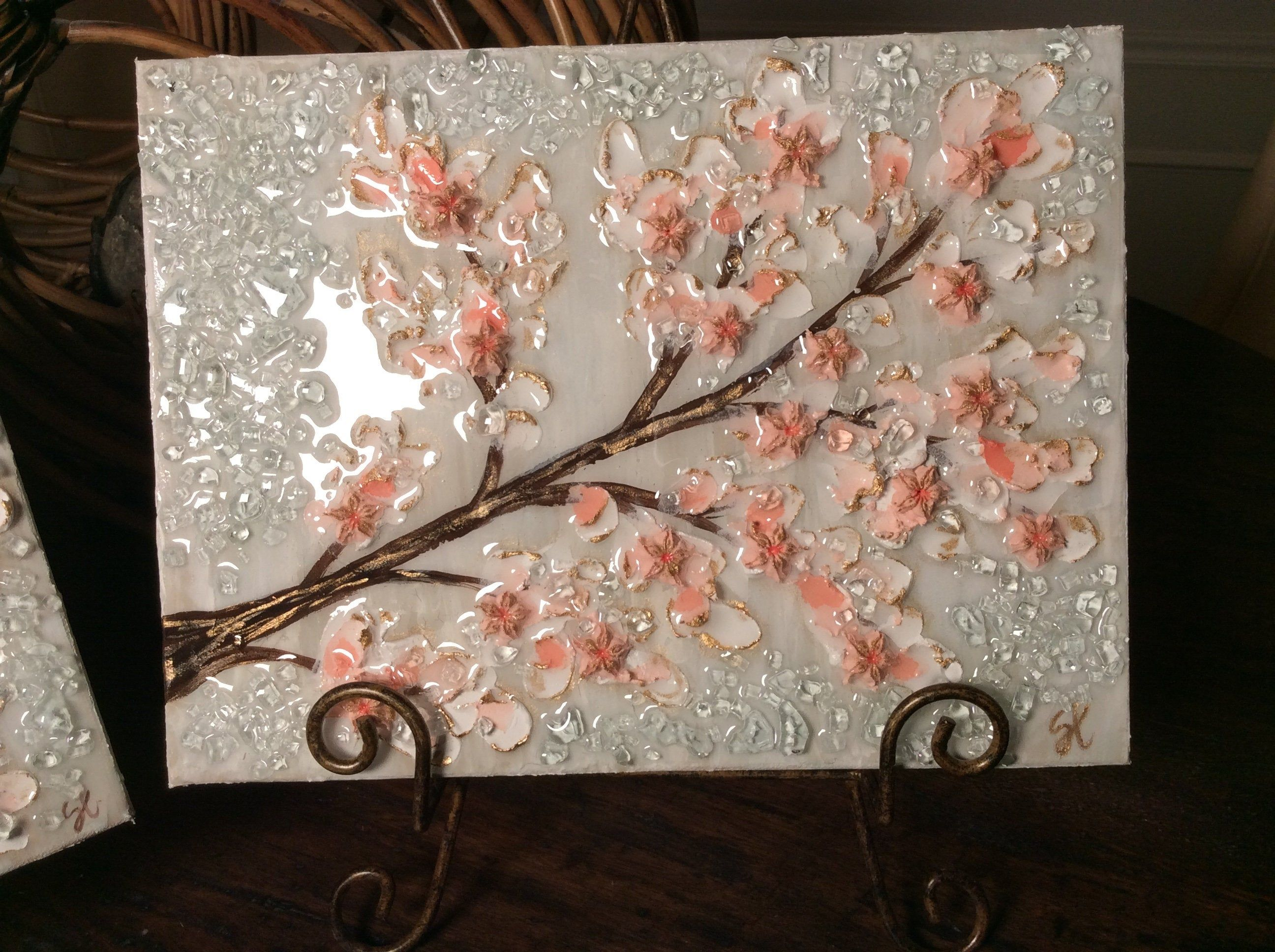 Textured Paint And Glass Cherry Blossoms Cherry Blossom Tree Etsy Gold Leaf Painting Cherry Blossom Painting Cherry Blossom Tree