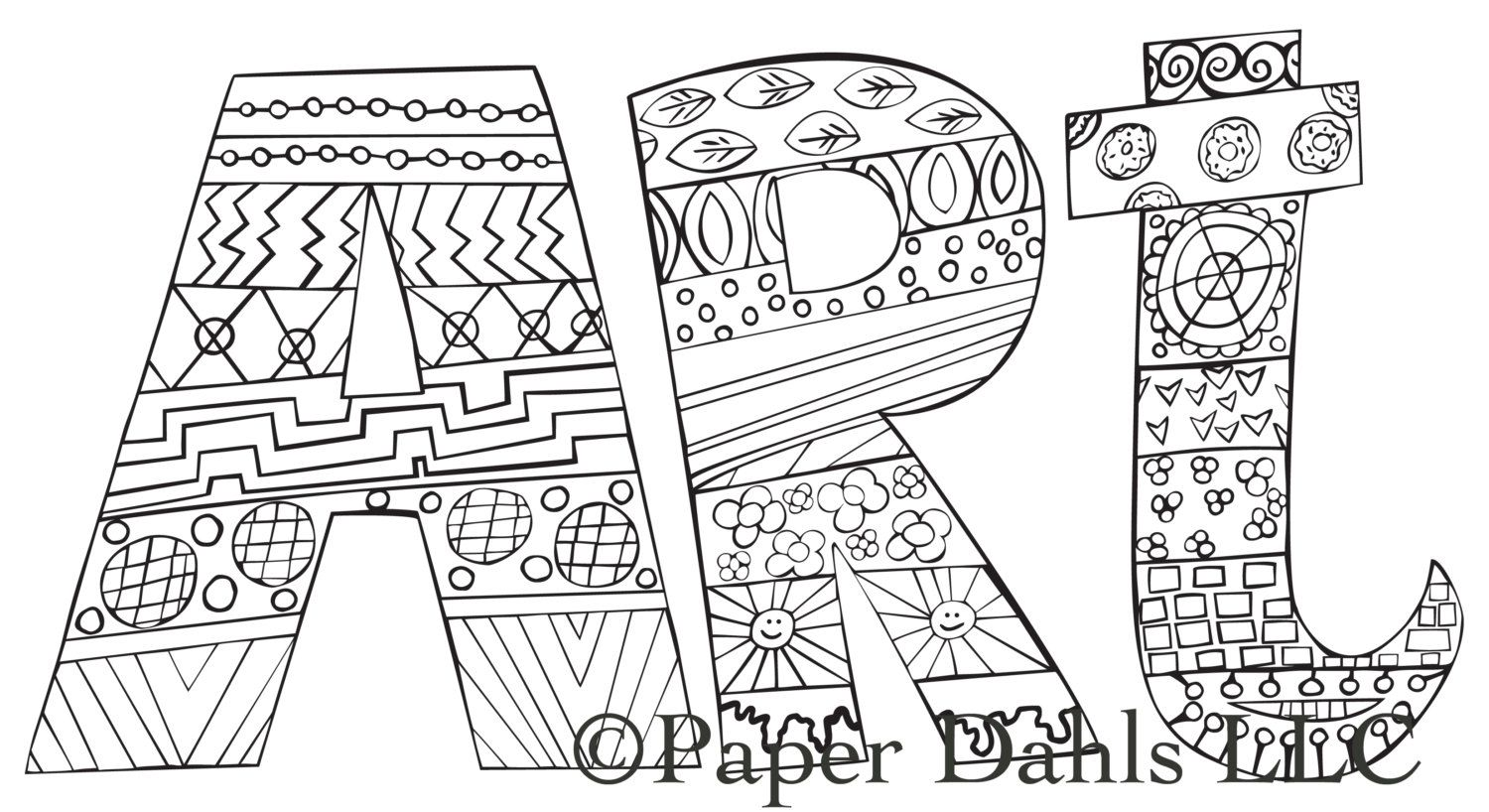 Download Coloring Page for Adults - Art, Handdrawn Coloring Page, Word, Pattern, Relaxation - INSTANT ...