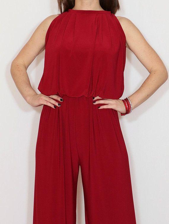 c39fd1335996 Wine red wide leg jumpsuit women Burgundy red halter top jumpsuit Formal  jumpsuit