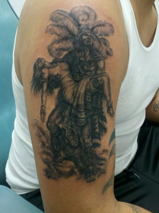 aztec warrior holding princess tattoo i did a couple