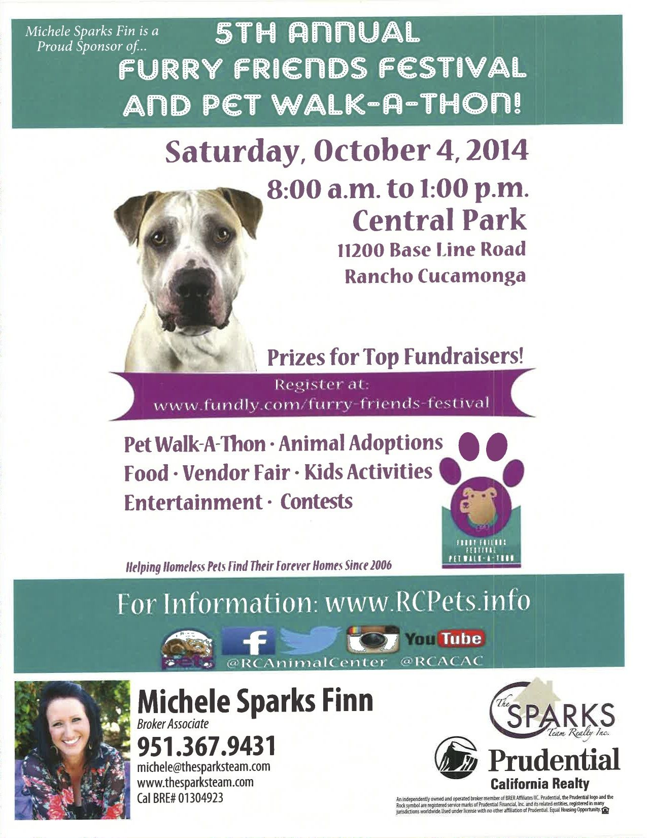 Join me on Saturday, October 4th from 8AM-1PM at Central Park in Rancho Cucamonga for the 5th Annual Furry Friends Festival.