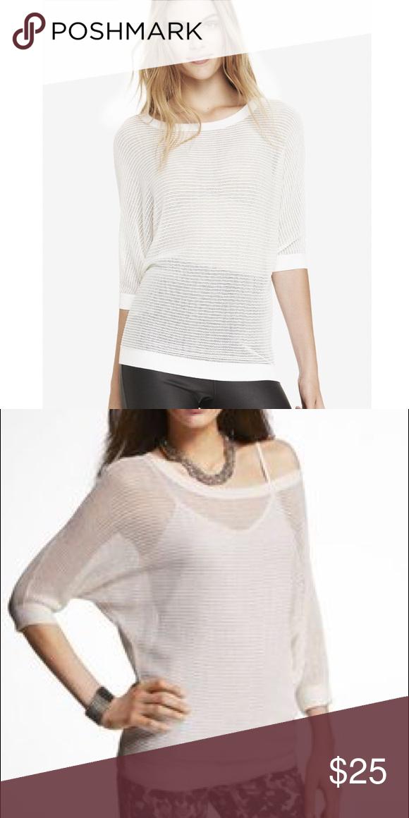 da06f756e2c35 Express mesh Doloman off shoulder sweater white Super cute new