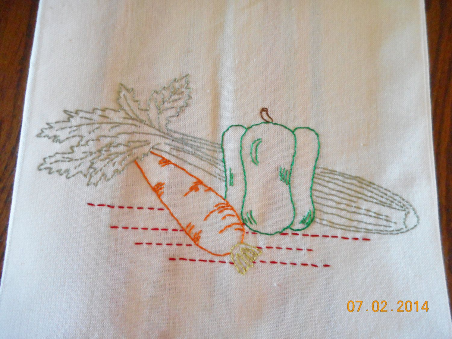 Vegetable Hand Embroidered Dishtowel/Kitchen towel by Happy2BCrafty on Etsy
