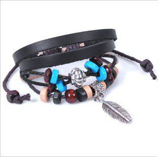 Amazon: Bohemian Vintage Style Feather Beads Leather Bracelet $0.99 shipped!