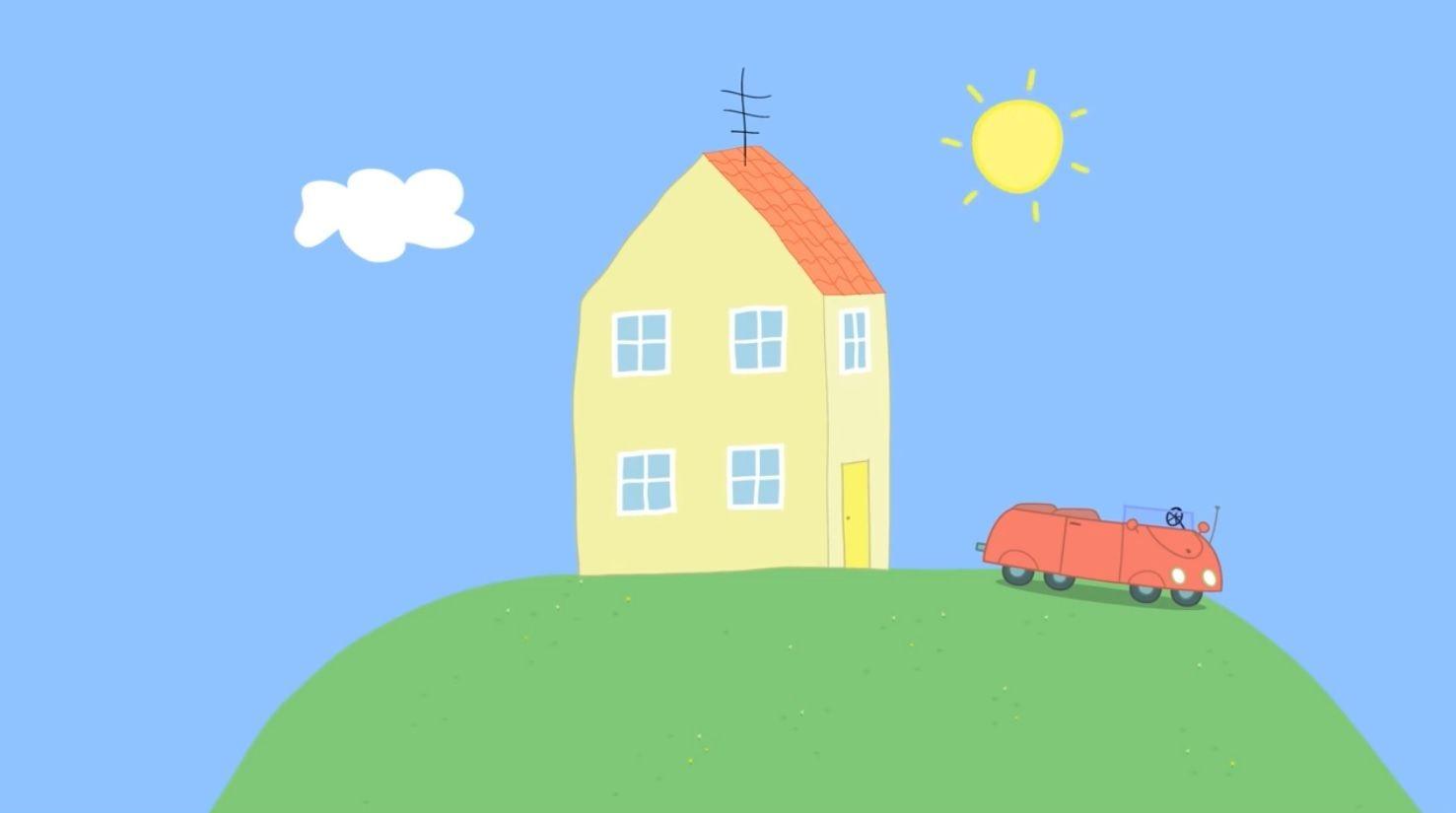 latest (1477×825) | Peppa pig house, Peppa pig colouring ...