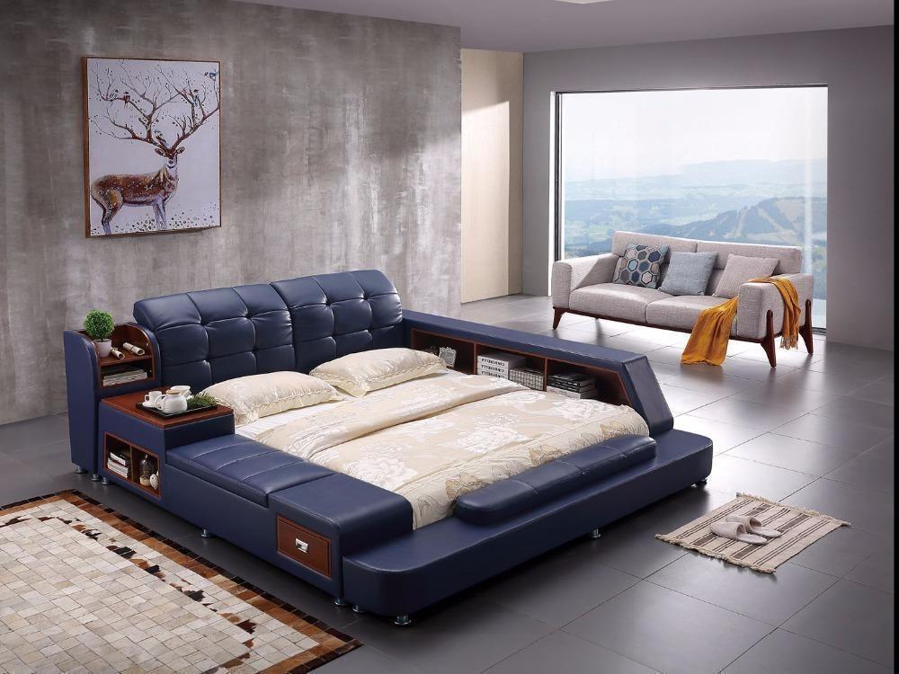 Side Slide Storage Bed For Room Furniture Leather bed