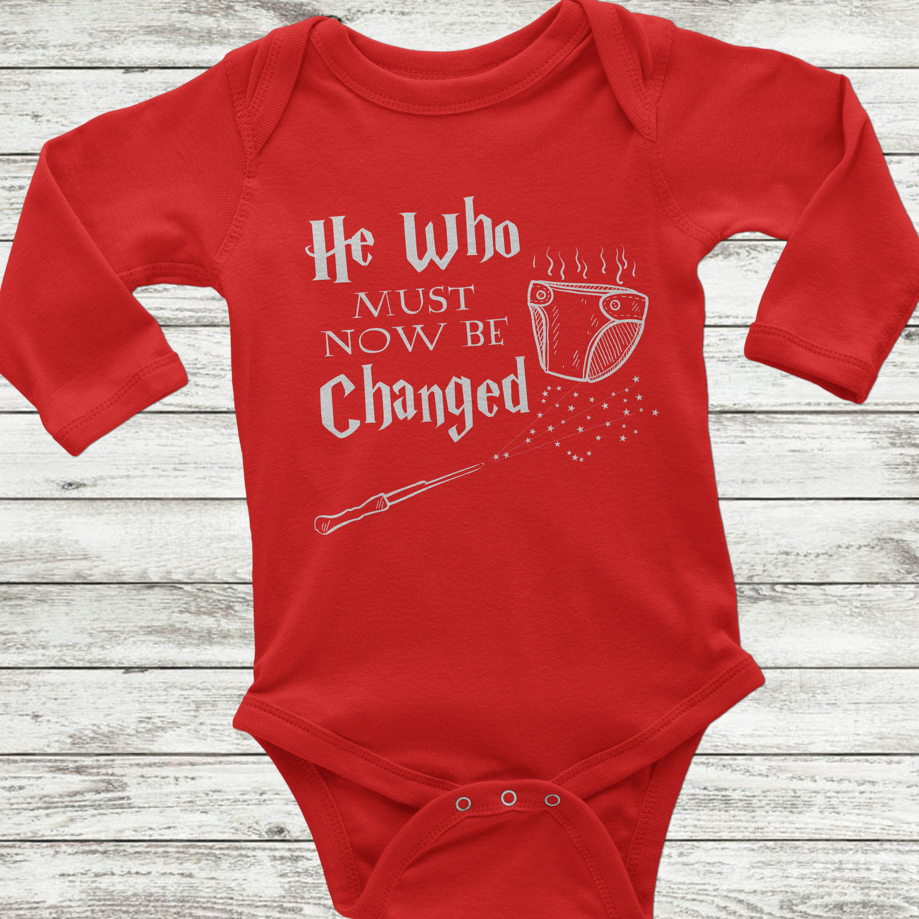 7be81c2e0 He who must now be changed, Funny Harry Potter Baby Onesie, Long Sleeve  Onesie, Harry Potter Baby, Harry Potter Baby clothes, HP baby shirt by ...