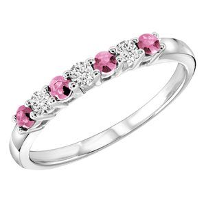Feminine and pretty 1/3 CTW Pink Sapphire and #Diamond #Semi #Eternity Ring in 14K White Gold