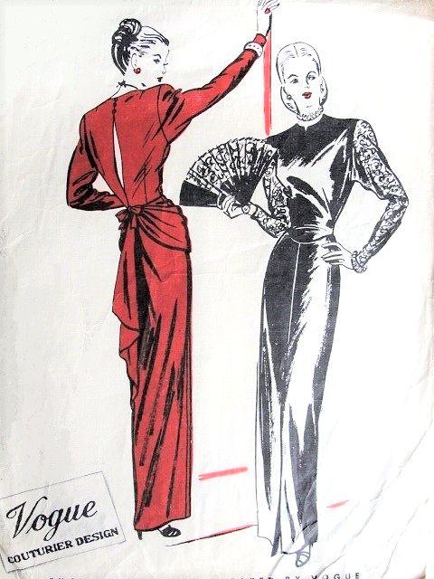 1940s Gorgeous FILM NOIR Evening Gown Dress Pattern VOGUE Couturier ...