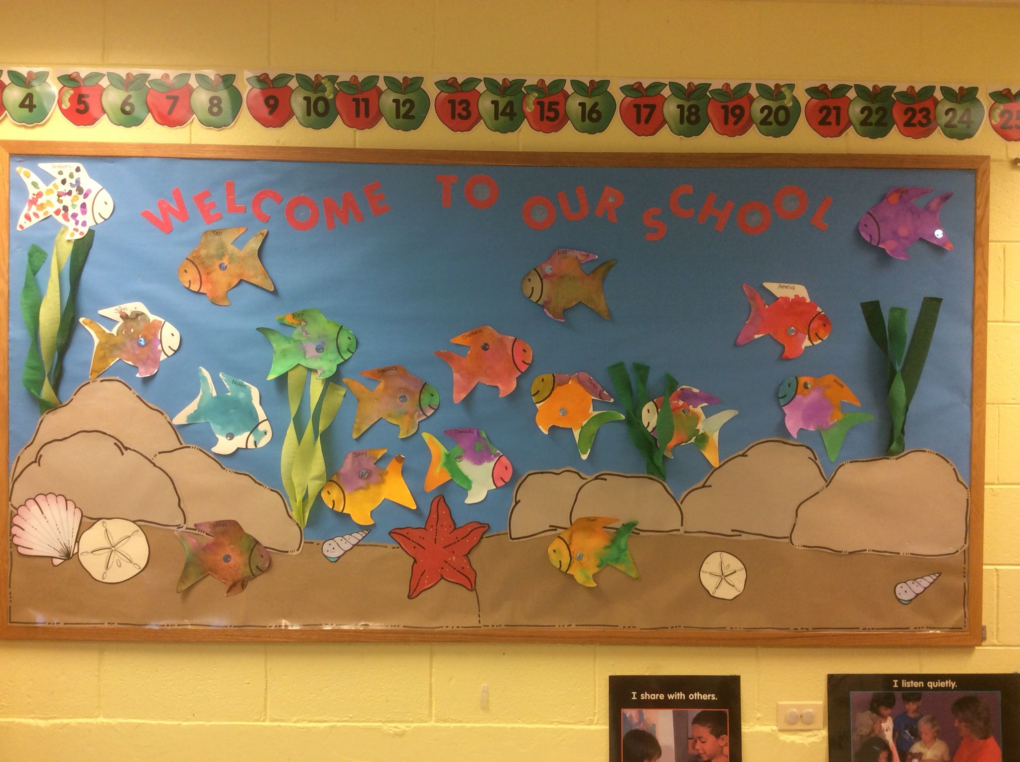 Rainbow Fish Welcome Bulletin Board We Start The Year