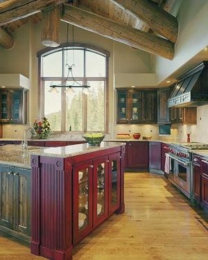 Rustic Kitchen is Classic:Images Of Maroon Kitchen Cabinets For Rustic Kitchen  Rustic Kitchen With Wall Cabinet by lissandra.villano