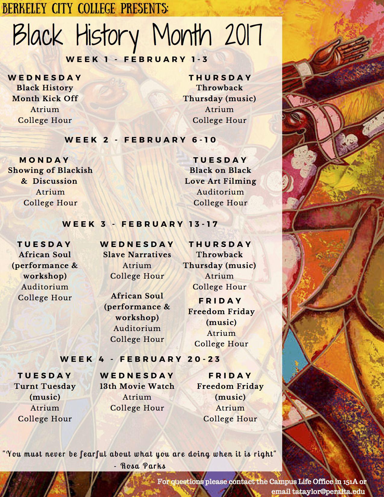 #BerkeleyCityCollege's #BlackHistoryMonth 2017 #CollegeHour #EventCalendar