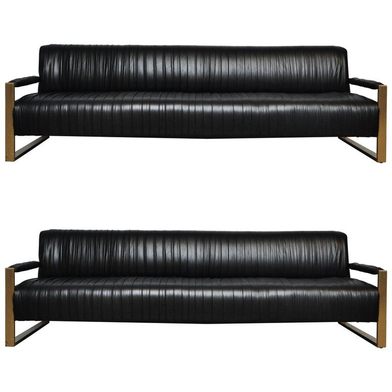 Modern Drama Pleated Leather Sofa with Brushed Brass Frames ...