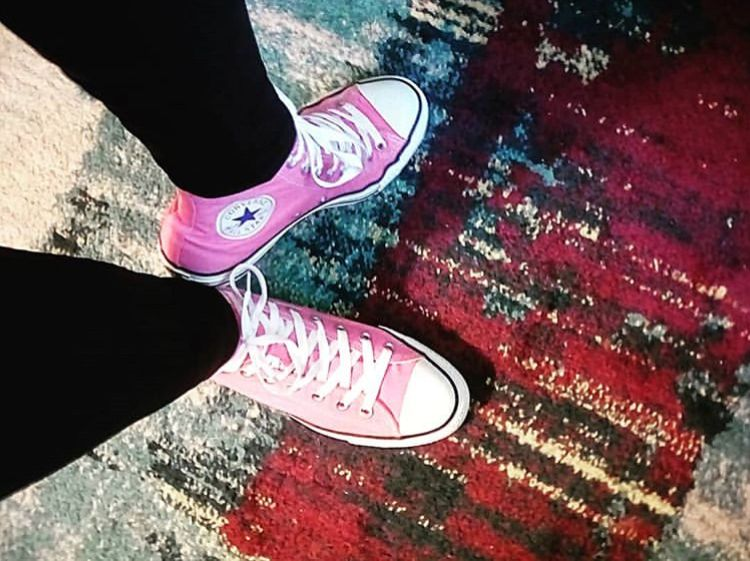 29f994a4a90a8 My mom 64 and timeless in her pink Converse tennies! She s a warrior ...