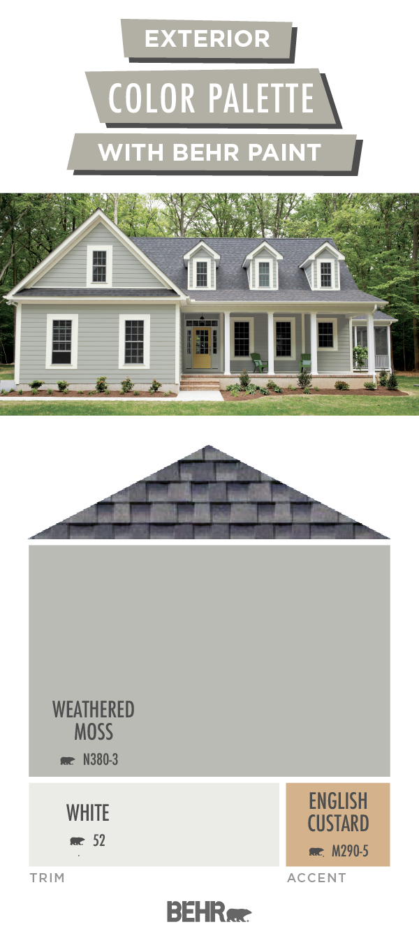 Coordinated Palette For Weathered Moss White Behr Paint In 2020 Grey Exterior House Colors Exterior House Paint Color Combinations House Paint Exterior