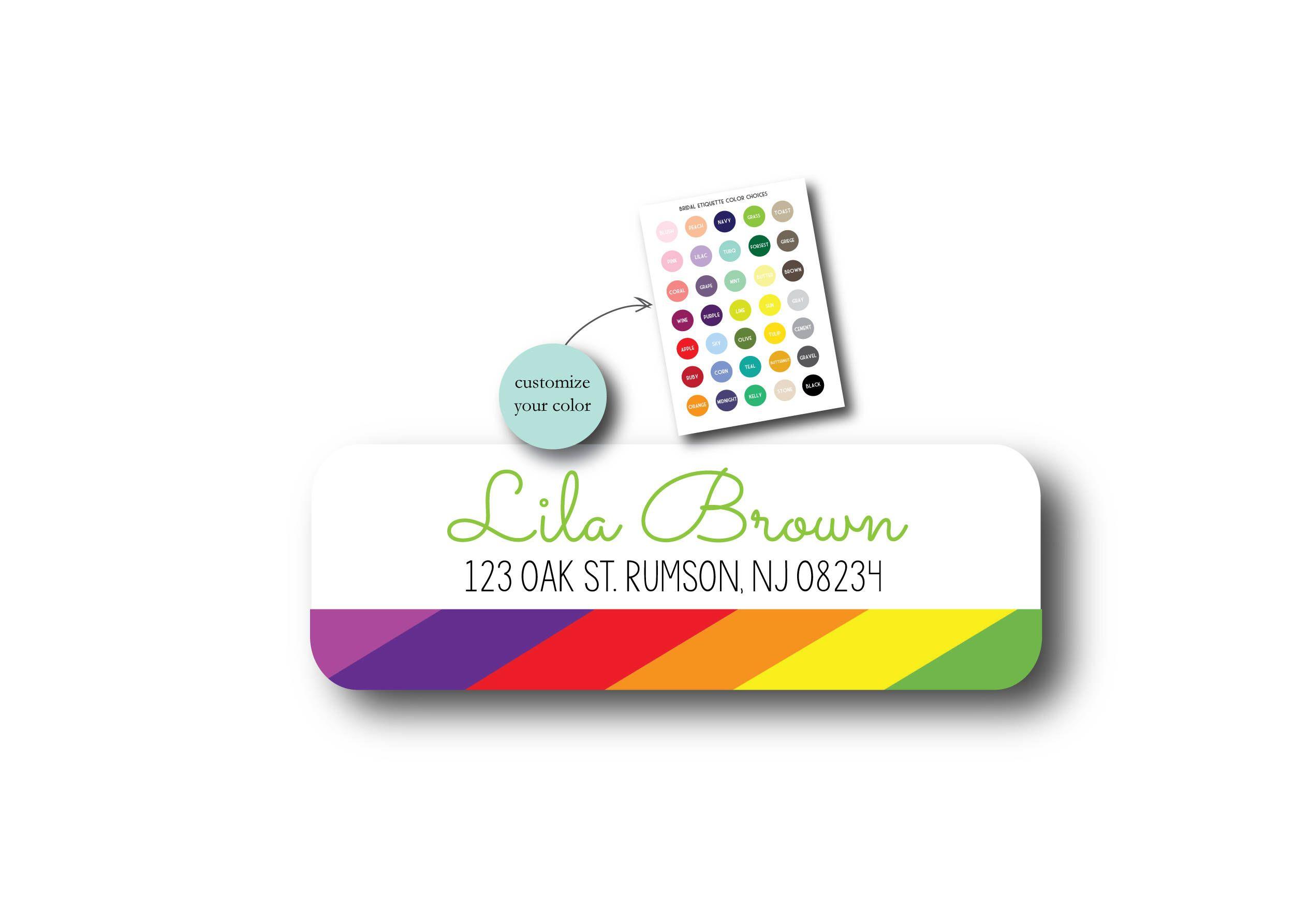 rainbow custom return address label wedding return address label
