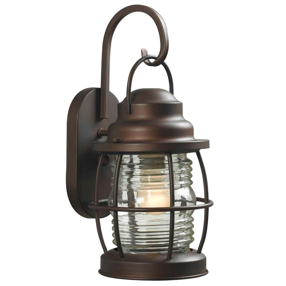 Hampton bay harbor light copper outdoor medium wall lantern diy