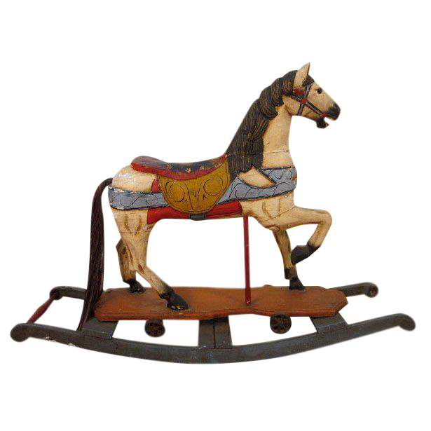 Vintage Hand Painted Wood Rocking Horse Circa 1940s Wooden Rocking Horse Rocking Horse Antique Rocking Horse