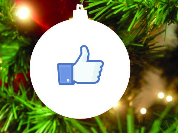 """Kerstbal wit, met Facebook """"like"""" logo Christmas bulbs"""