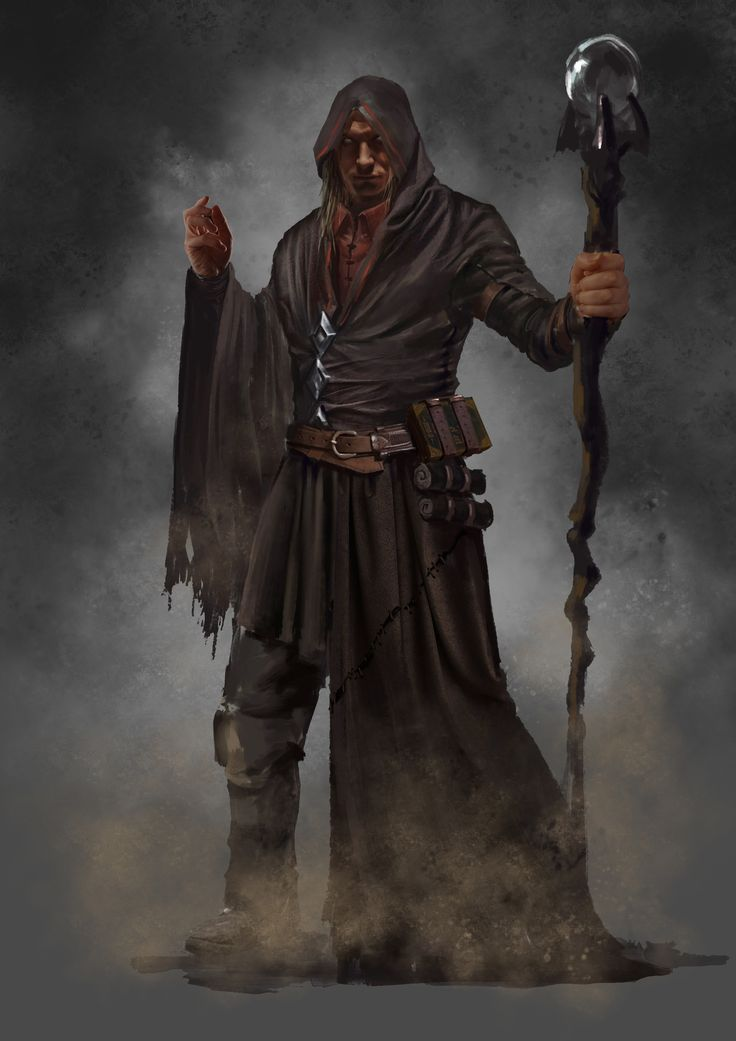 concept character male human mage wizard elite poor cloth staff orb mist night town tower