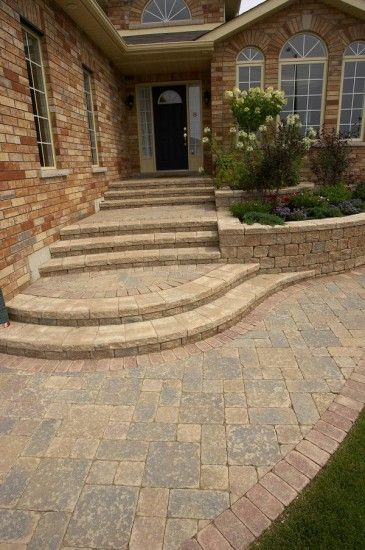 Unilock Front Entrance With Steps And Stonehenge Paver