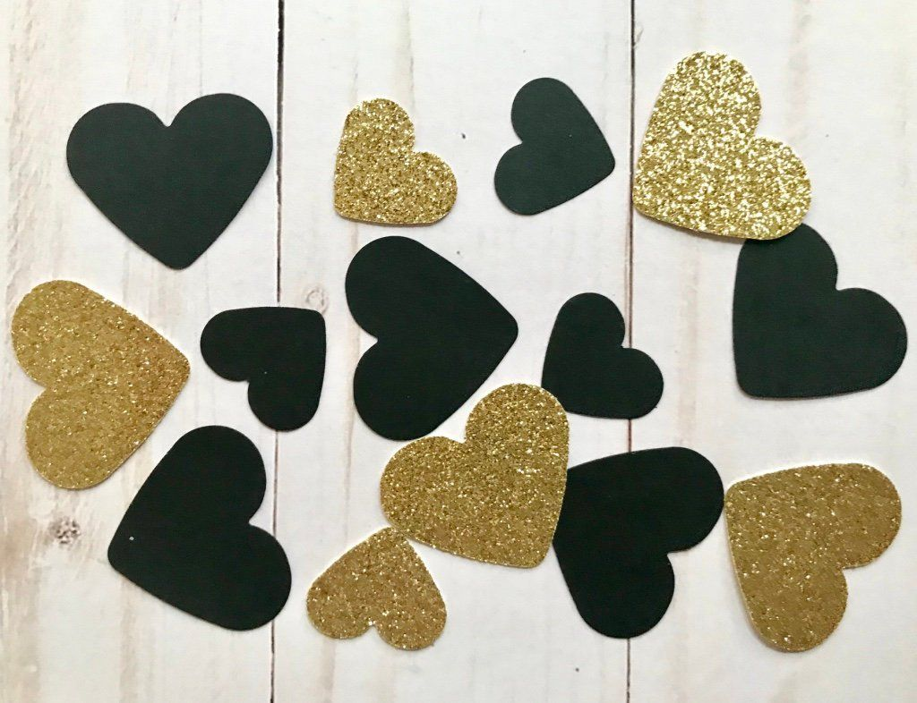 party table decorations Ivory cream /& gold  heart wedding confetti