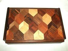 Mid century modern DON SHOEMAKER SENAL rosewood valet jewelry box inlaid wood