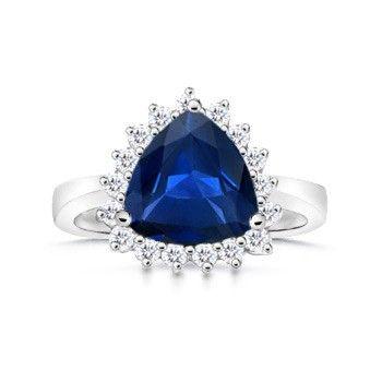 Angara Vogel Cushion Natural Sapphire and Diamond Halo Ring in Rose Gold zTnPWCHKl