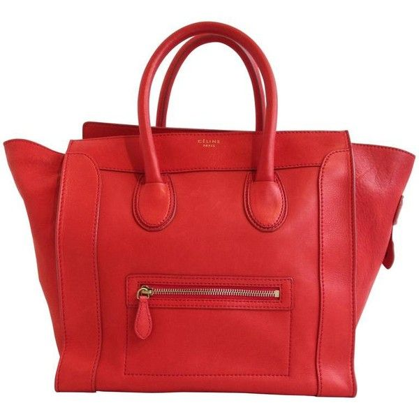 Preowned Celine Vermilion Red Leather Luggage Tote ($2,900) ❤ liked on Polyvore featuring bags, handbags, tote bags, red, red leather tote, leather tote, leather tote bags, genuine leather tote and red leather handbag