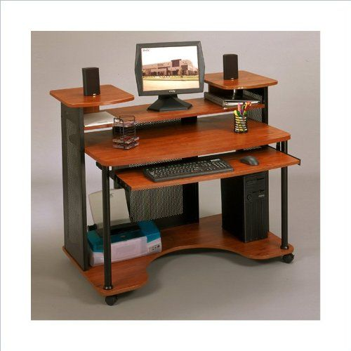 Studio Rta Wood Computer Desk In Black And Cherry Studio Rta Not All That Attractive But Could W Wood Computer Desk Diy Computer Desk Computer Desks For Home