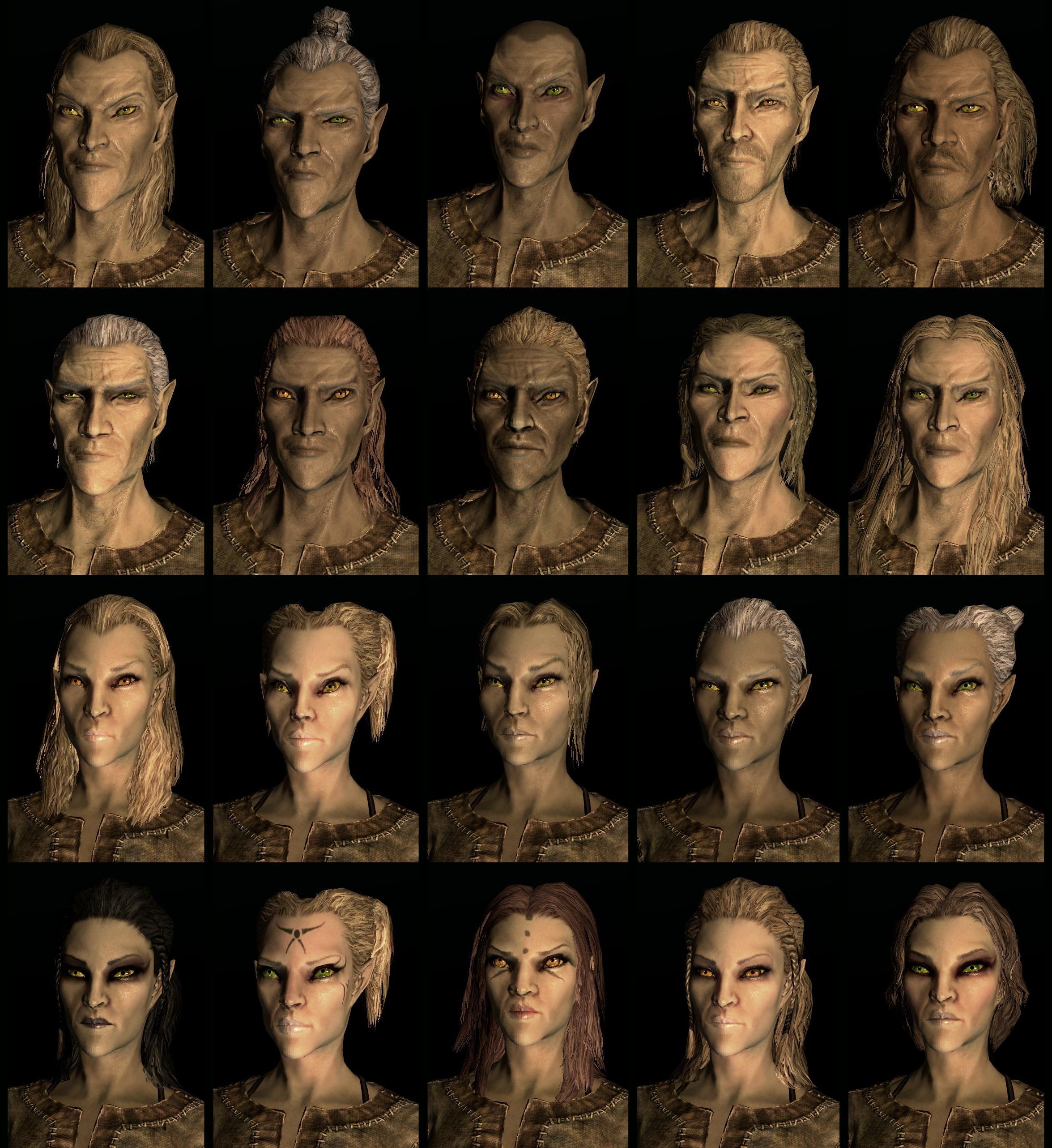 Skyrim Hairstyles And Face Markings Skyrim Elder Scrolls Skyrim Skyrim Races