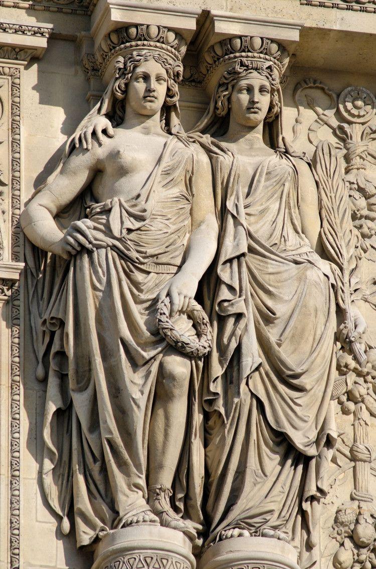 Hismarmorealcalm Caryatides Doubles En Pied Soutenant Le Fronton