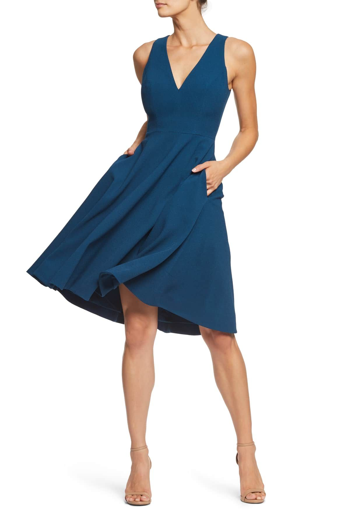 Dress the population catalina fit flare dress with