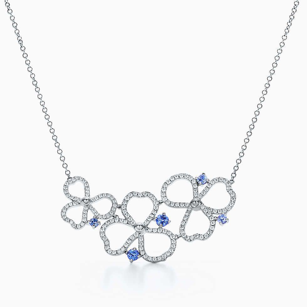 4fa295f330d9 Tiffany Paper Flowers™ diamond and tanzanite flower ring in platinum.