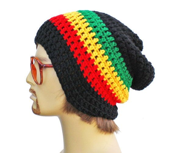 Slouch Rasta Beanie Mens or Unisex - Ultimate Slacker Striped Beanie ...