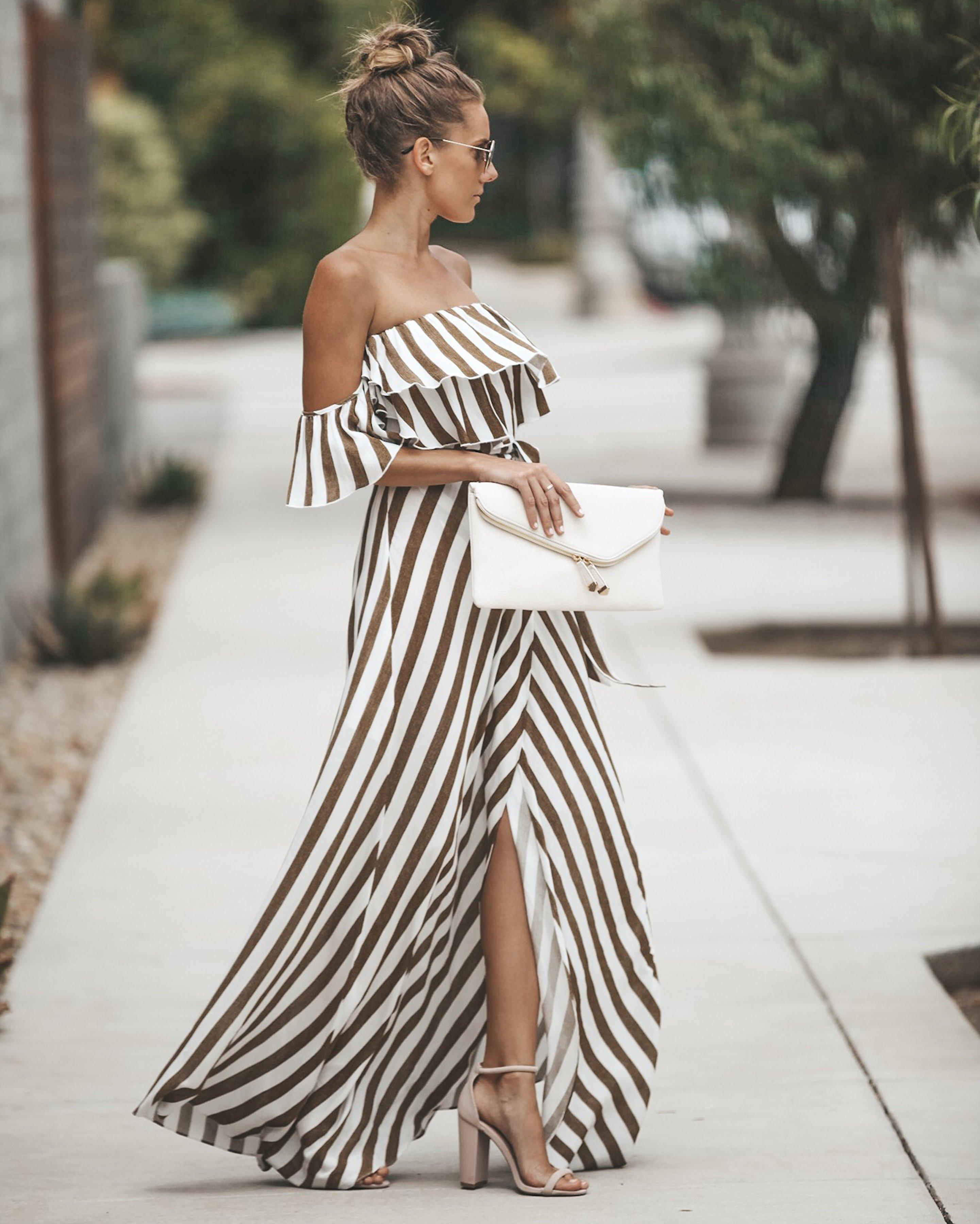 Eclipse Striped Wrap Maxi Dress Fashion Fashion Dresses Summer Dresses [ 3600 x 2881 Pixel ]