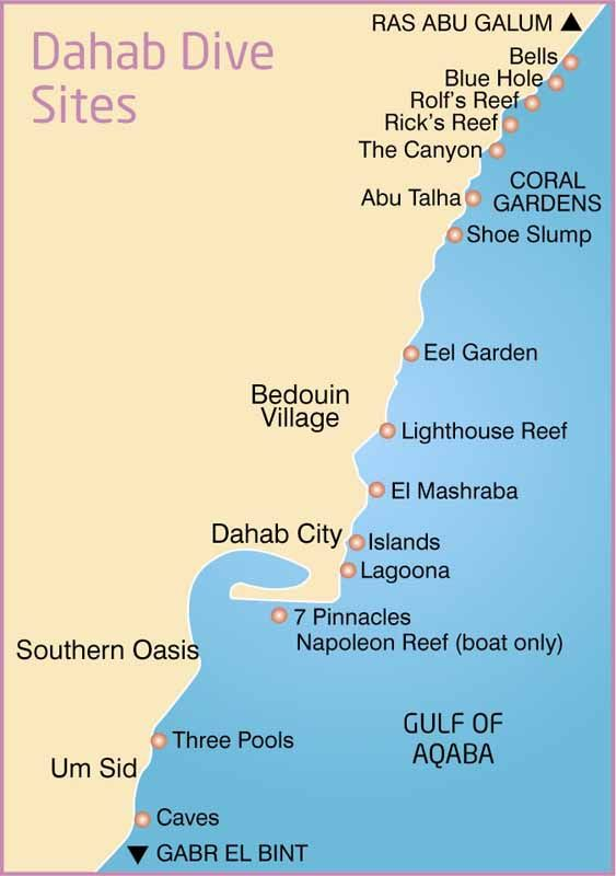 Map Of Local Dahab Dive Sites Dahab Dive Sites Pinterest - Map of egypt dahab