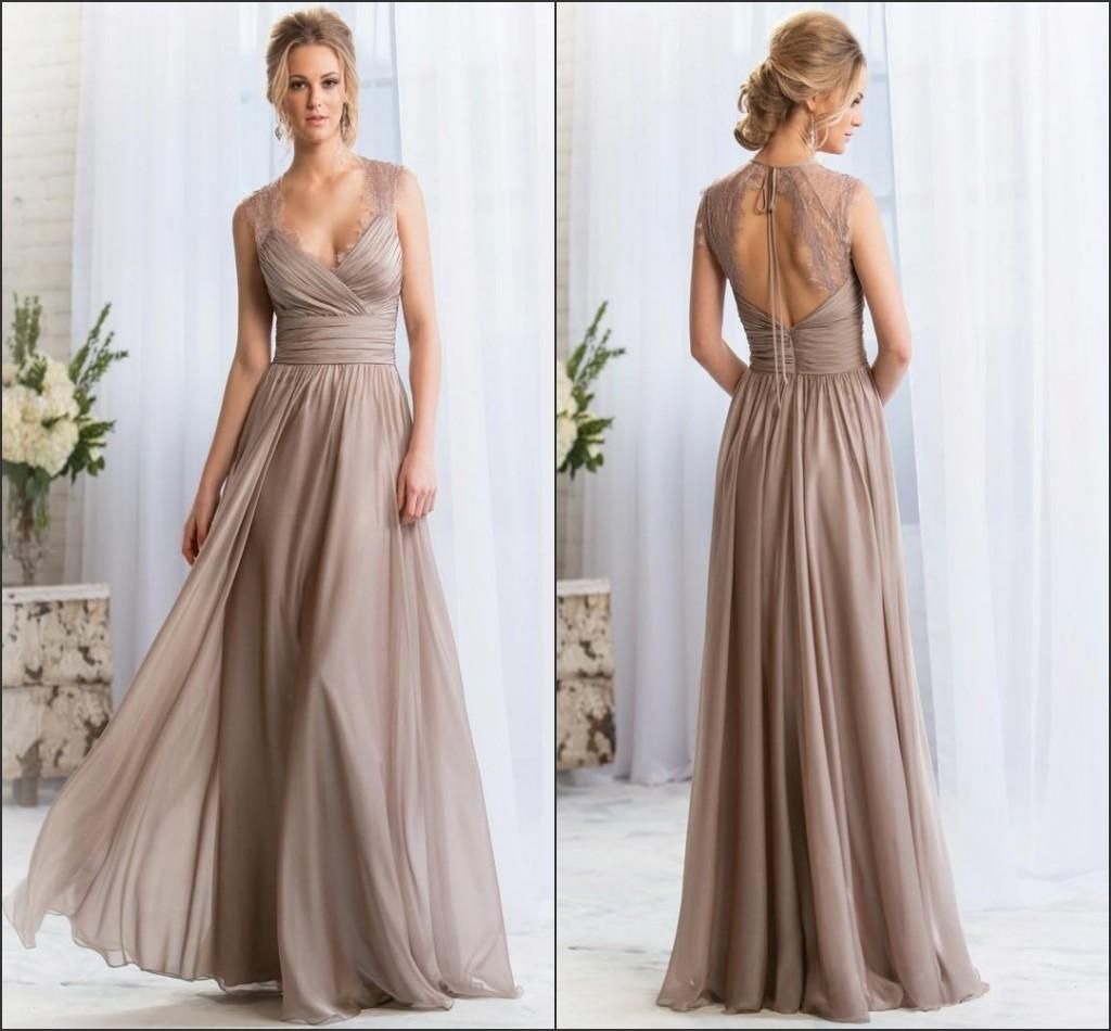 Navy blue chiffon v neck backless bill levkoff bridesmaid dresses