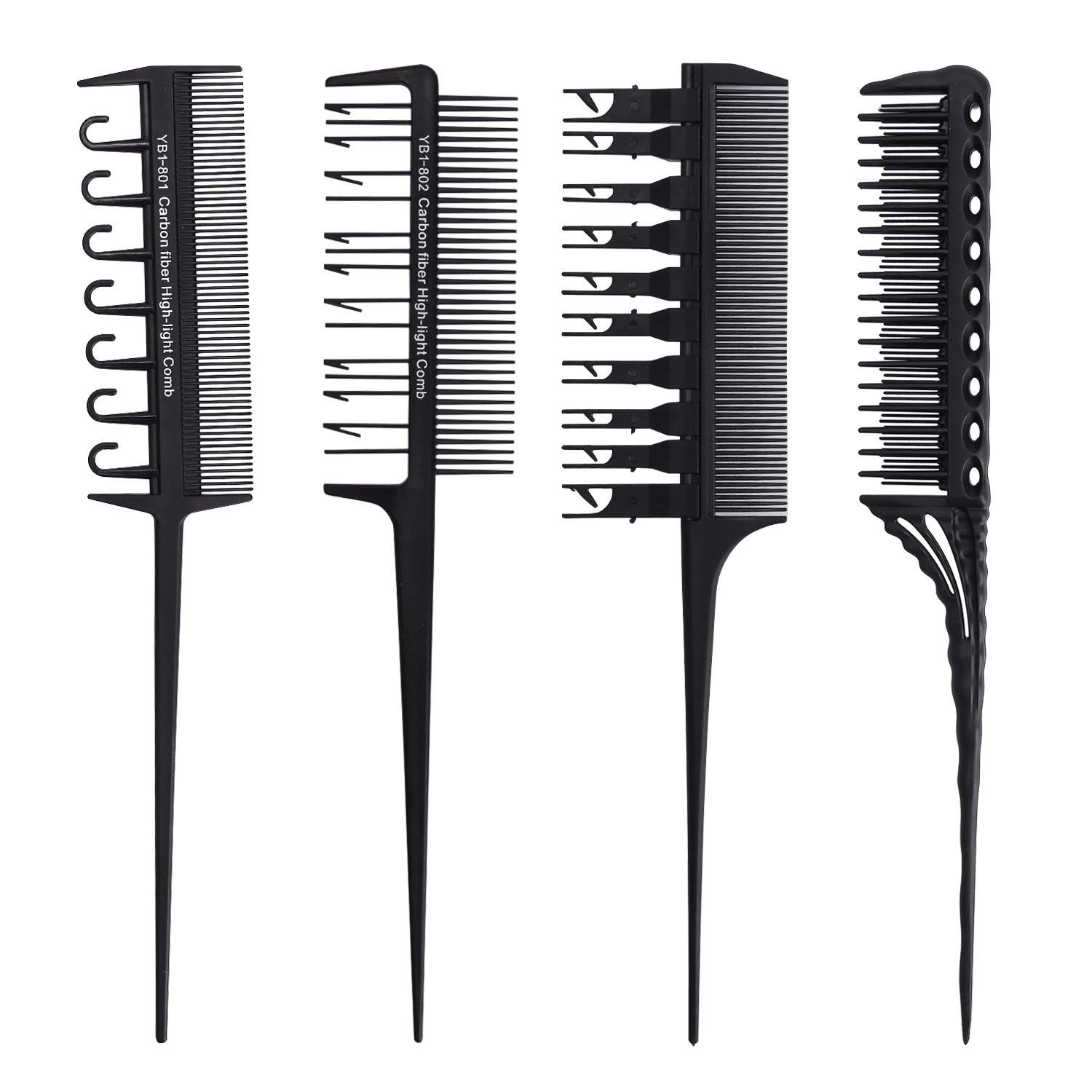 Professional Hair Styling Combs Set Rat Tail Comb Teasing Salon Barber Stylists Hair Dye Coloring Tools Detang Professional Hairstyles Styling Comb Dyed Hair