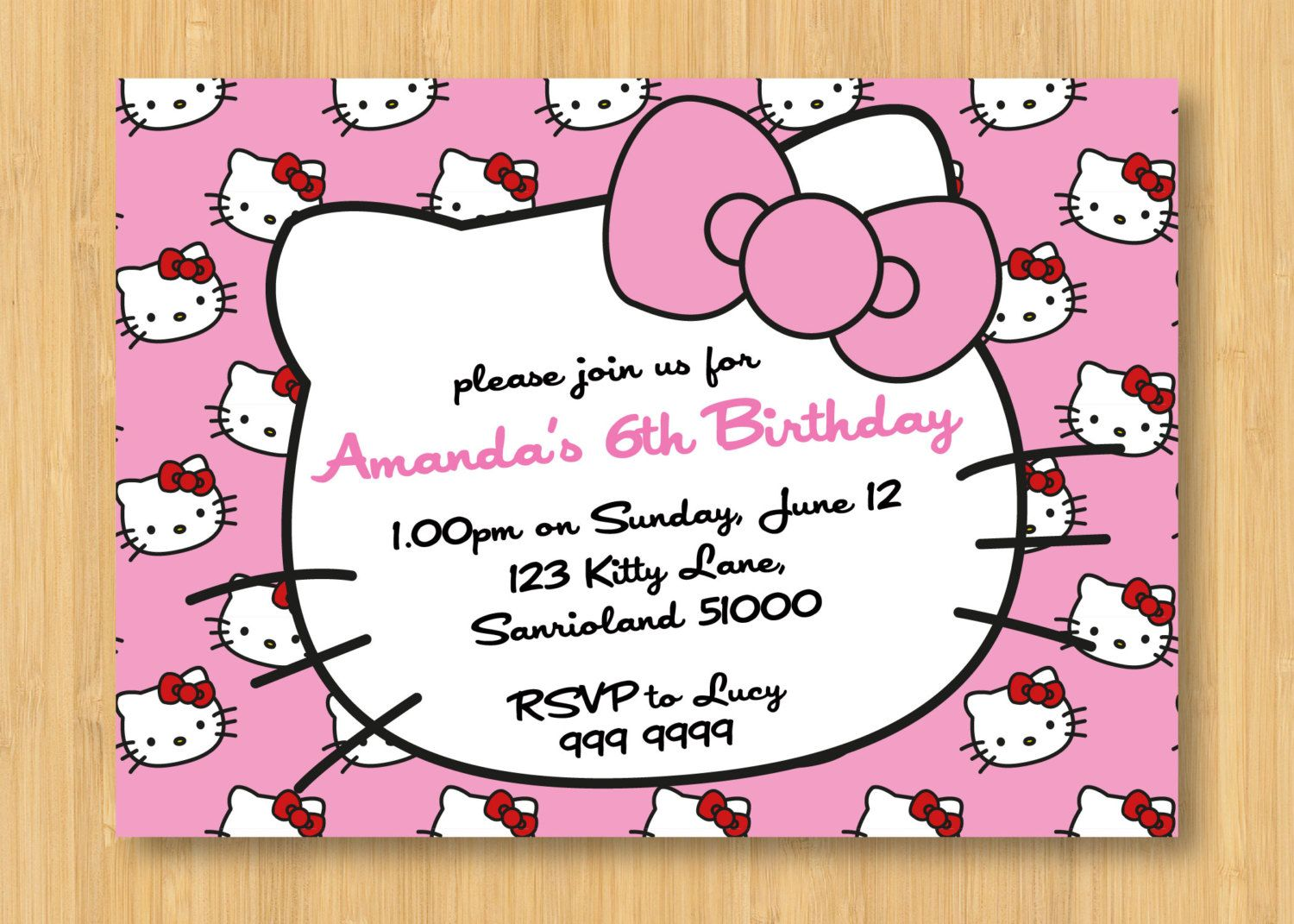 Hello Kitty Printable Birthday Invitations Hello Kitty Invitations Hello Kitty Invitation Card Hello Kitty Birthday Invitations